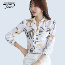 2017 New Fashion V-Neck Chiffon Blouses Slim Women Chiffon Blouse Office Work Wear shirts Women Tops Plus Size Blusas 882G 25