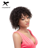 X Elements Peruvian Jerry Curly Short Human Hair Wigs With Baby Hair 8 Inch Non Remy 100% Human Hair Wig For Black Women