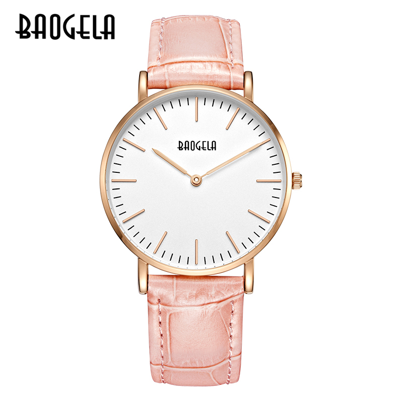 BAOGELA Ladies Watch Simple Two-pin Quartz Watch Ultra-thin Dial Fashionable Waterproof Wrist Watch fashionable water resistant glow in dark wrist watch black white 1 x lr626