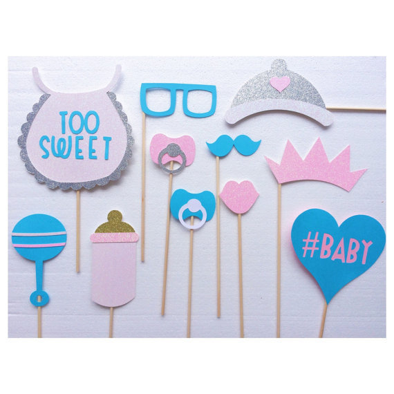 Cool Gender Neutral Baby Shower Photo Booth Prop Bundle Set Party