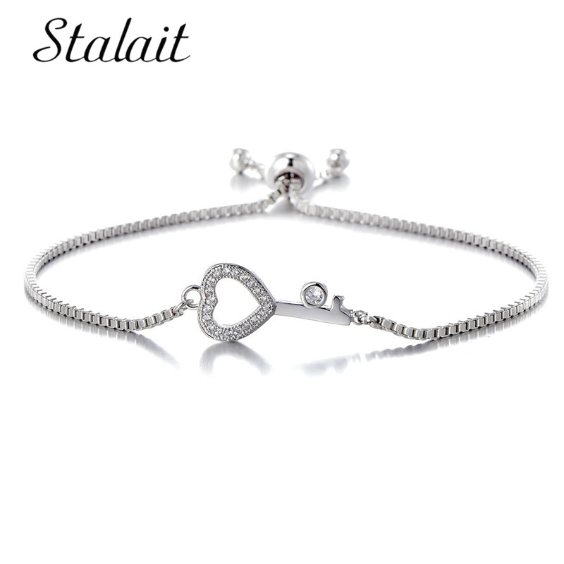 2018 Silver Color CZ Key Charm Bracelet Cubic Zirconia Jewelry Adjustable Chain Link Bracelets for Women Men Pulseira