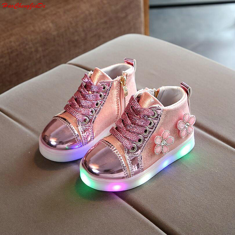 2018 Spring Children's Sneakers Kids Shoes For Girls Toddler Casual Shoes With LED Light Up Luminous Sneakers Tenis Infantil