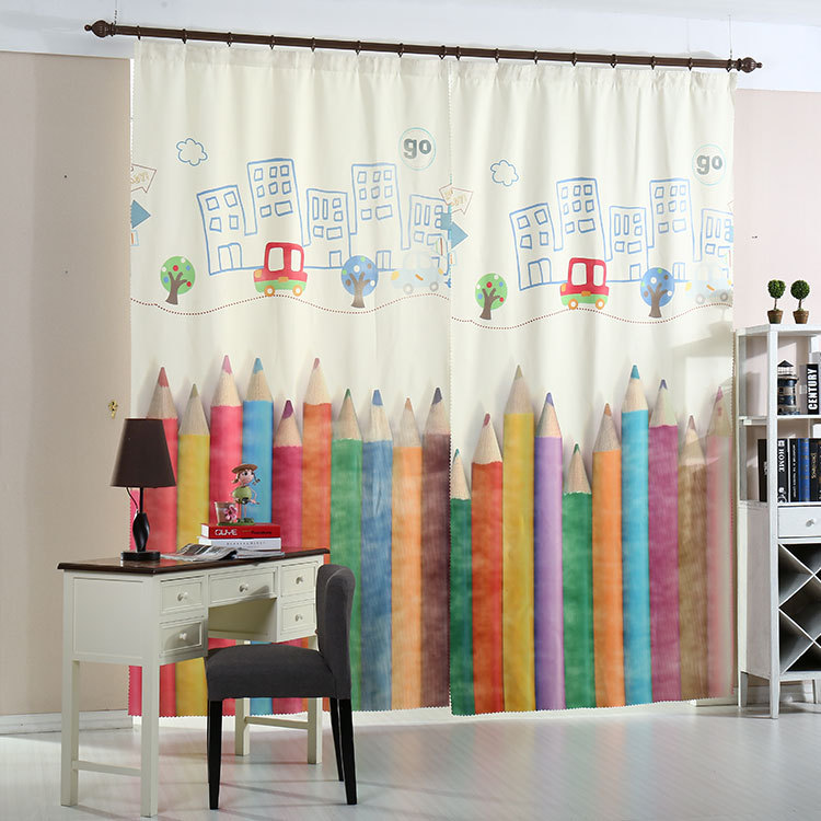 Cartoon pencil curtains for living room bedroom children for Curtains for kids room