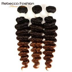 Rebecca 1/3/4 sztuk Ombre trzy Tone wiązki ludzkich włosów Remy włosy peruwiański głęboka fala wiązki oferty kolor 1B/4/27 #1B/4/30 #