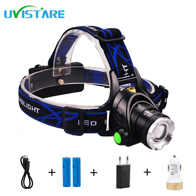 Uvistare Z1 5000Lm CREE XM-L2 HeadLight Zoomable Rechargeable Headlamp Waterproof Torch Head lights for Camping Patrolling