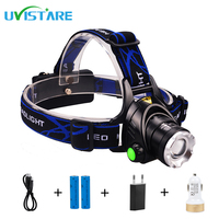 Uvistare Z1 2200Lm CREE XM L2 HeadLight Zoomable Rechargeable Headlamp Waterproof Torch Head Lights For Camping