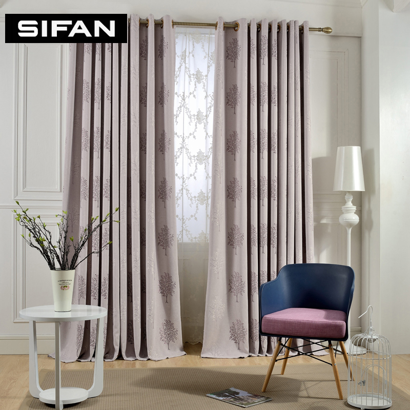 Purple Coffe Tree Jacquard Blackout Curtains For Living Room Window Curtains For The Bedroom