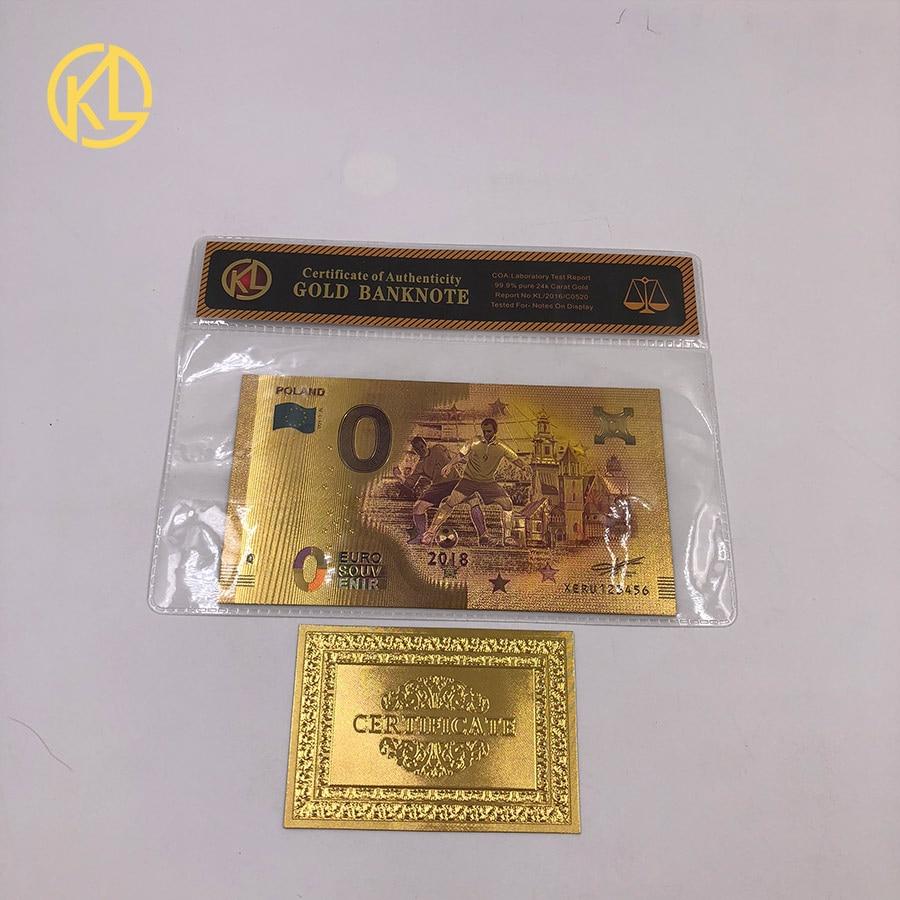 1 шт. unised 1994 Edition Poland Currency designed цветной 24 K позолоченный банкнот 500 PLN для банка подарочные сувениры - Цвет: Оранжевый