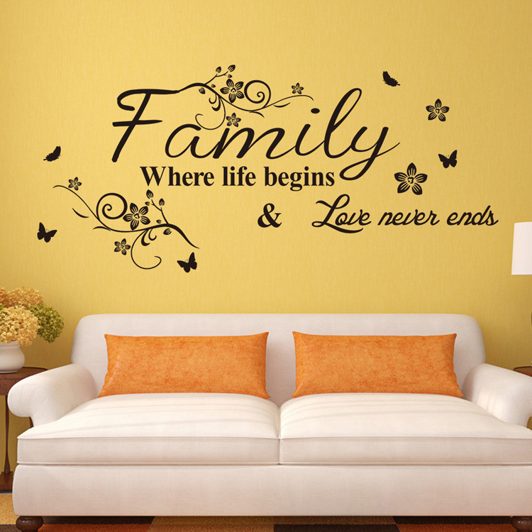 Family Where Life Begins Love Never Ends Removable Vinyl Wall Sticker English Quote Wall Decal Decorative Adesivo De Parede In Wall Stickers From Home