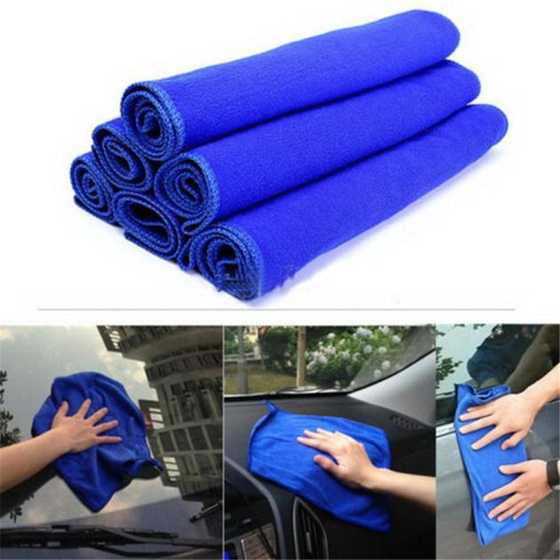 Car-styling 5Pcs Blue Soft Absorbent Wash Cloth Car Auto Care Microfiber Cleaning Towels new car motocycle bike accessories