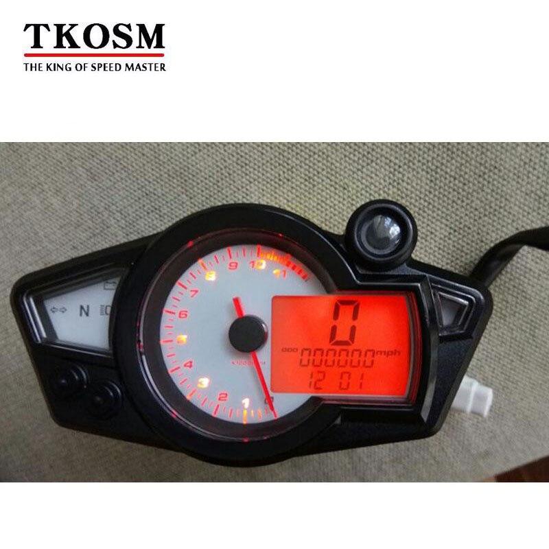 TKOSM New Motorcycle Speedometer Odometer Meter Adjustable Wheel Size Adjustable LCD Digital Bike Tachomete 10000 RPM