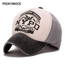 Peekymoce Wholesale Vintage Cotton Baseball Cap Men NY Casual Adjustable Snapback Hip Hop Street Women Baseball Caps Bone hats