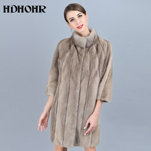 HDHOHR 2019 High Quality Natural Mink Fur Coats For Women Outwear Park With Fur For Female Warm Vest Winter Real Mink Fur Jacket(China)