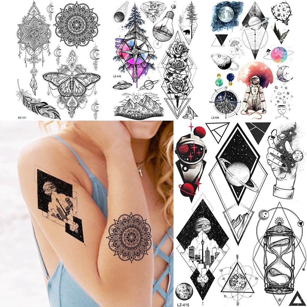 GoldOcean-tatuajes falsos de flores para hombre y mujer, Tatuajes Temporales, resistentes al agua, con formas geométricas, Planeta, Mandala