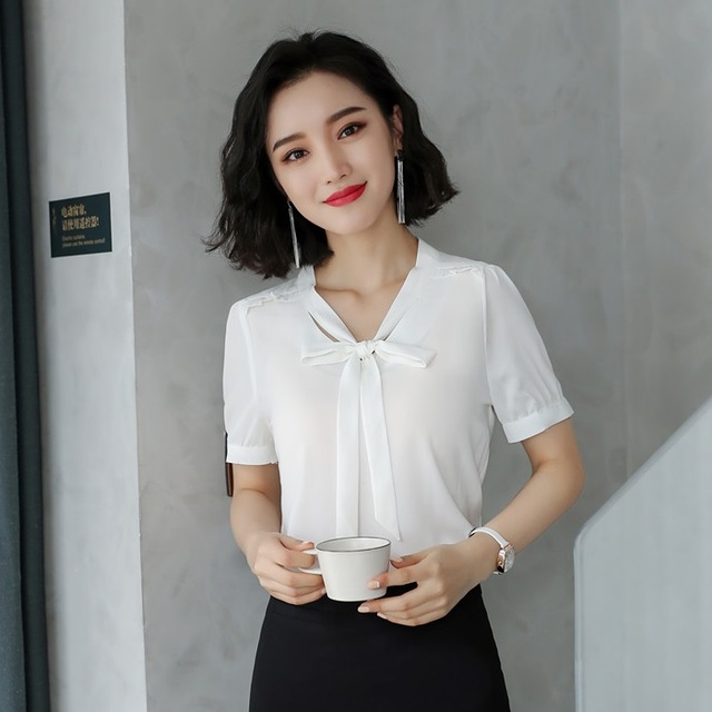 94421576bea062 Summer Fashion Female Women White Blouses   Shirts Short Sleeve Office  Ladies Work Wear Tops