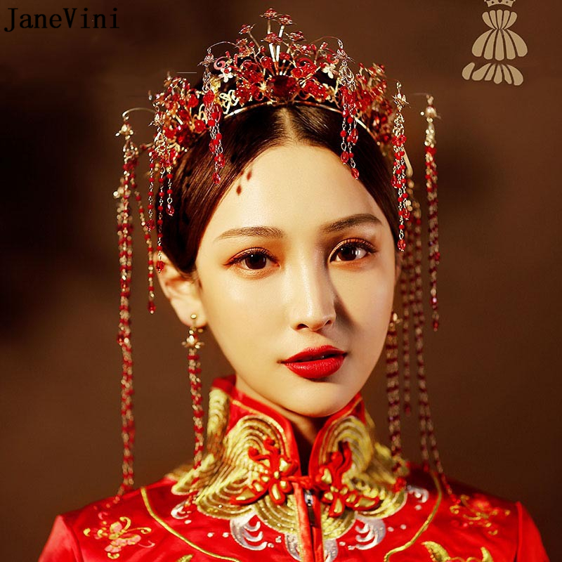 JaneVini Classical Chinese Style Wedding Red Bridal Hairpins Headdress Costume Crown Hairband Brides Hair Jewelry Accessories