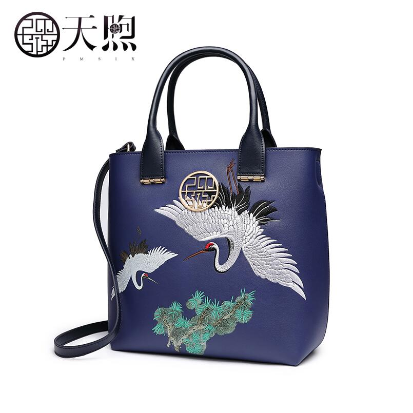 Tmsix 2018 New women Pu Leather bags fashion embroidery luxury tote handbags designer women bag leather handbags Crossbody bags new women leather bags fashion embroider flowers luxury tote handbags designer women bag leather handbags crossbody bags