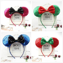 New Rose Gold Red blue hair Sequins Mickey Minnie Mouse Ears solid black headband boy birthday party celebration