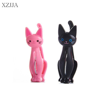 XZJJA 4Pcs Creative Cats Plastic Clothes Pegs Clothespins Cute Beach Towel Clips Bed Sheet Handdoek Socks