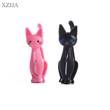 XZJJA 4Pcs lot Creative Plastic Clothes font b Pegs b font Cute Cat Laundry Hanging Clothes