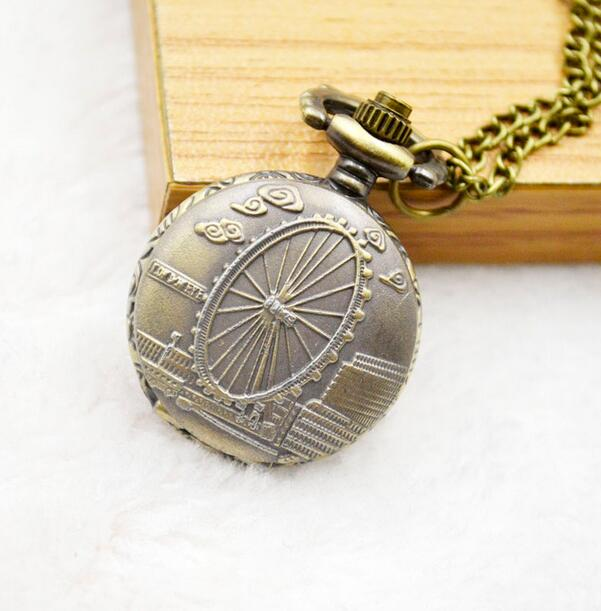 Vintage Mini Ferris Wheel Quartz Hours Pendant Good Quality Girl Woman Necklace Pocket Watches Gift