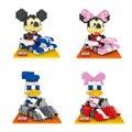 Blocos de Construção de diamante Mini DIY Bricks Presente Mickey Minnie Mouse Pato Donald Daisy Kart Modelo Brinquedos de Personagens Clássicos de Desenhos Animados