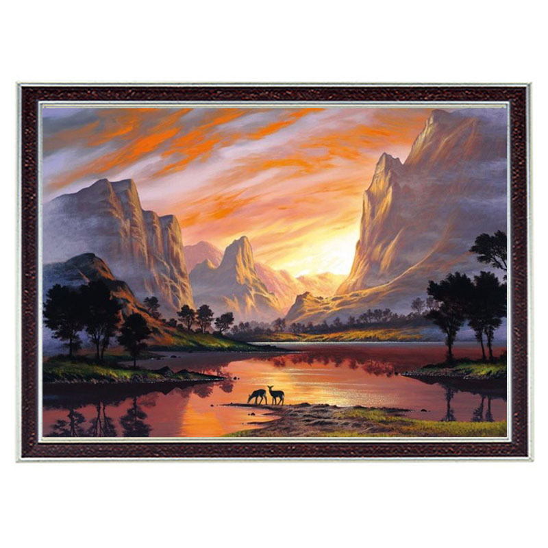 Needlework Crafts 14CT Unprinted Embroidery French DMC Counted Cross Stitch Kits Set Landscape Sunset