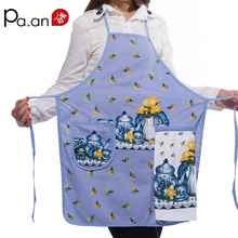 New 100% Cotton Ladies Kitchen Aprons Creative Cartoon Printed Cooking Apron with Pockets Hand Towel Household Cleaning Tools