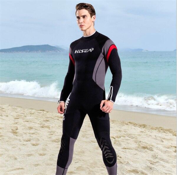 Hisea 1.5mm neoprene mens surf wetsuit one-piece diving suit long-sleeve swimwear black gray contrast- collar001