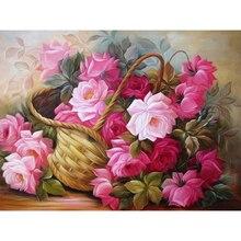 Diy Diamond painting flower embroidery lovely 3d diamond art craft needles fabric mosaic Rose Basket