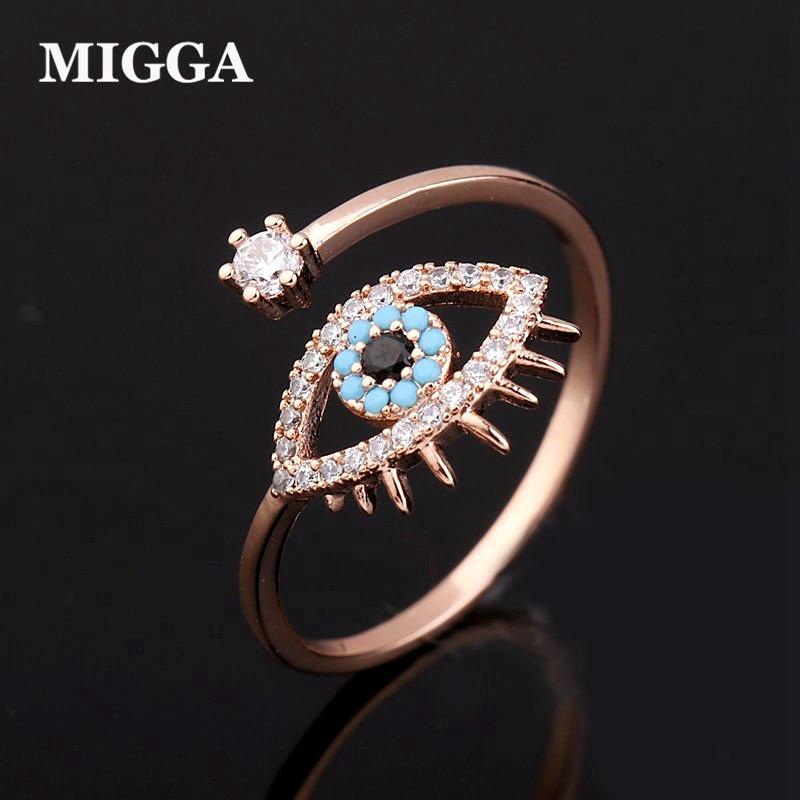MIGGA elegante azul de mal de ojo anillo de Zirconia cúbica las mujeres las niñas Hamsa joyería de oro Color de rosa de apertura Bague