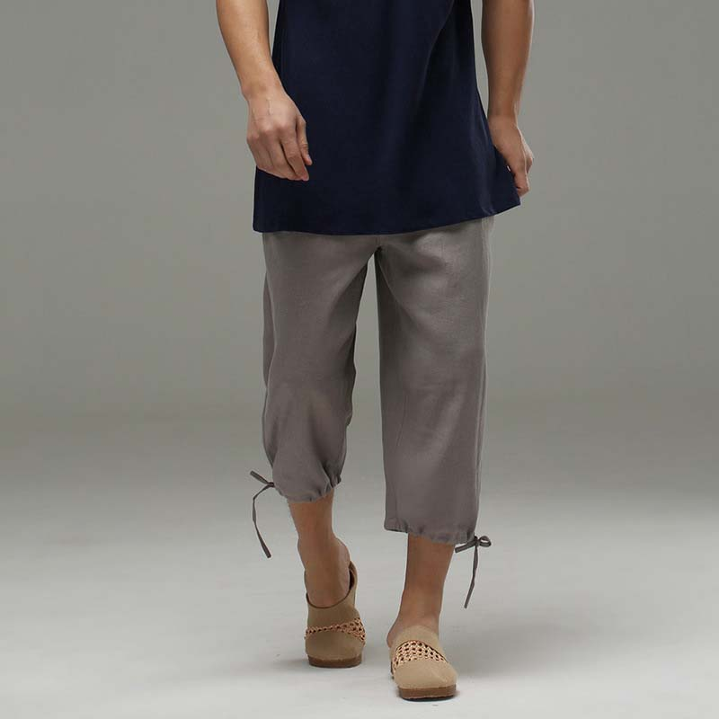 Mens Cotton Solid Loose Summer Linen Drawstring 3//4 Short Trousers Pants Casual