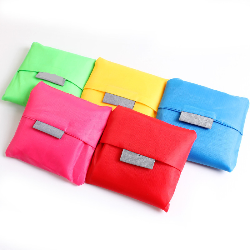 3 PC Reusable High capacity nascent bright solid 6 color shoulder bag shopping travel pouch tote bag folding bags home garden