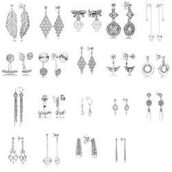 19 estilo 925 brincos de prata esterlina folha coração flor pingente com brincos de cristal completo para festa de casamento feminino jóias
