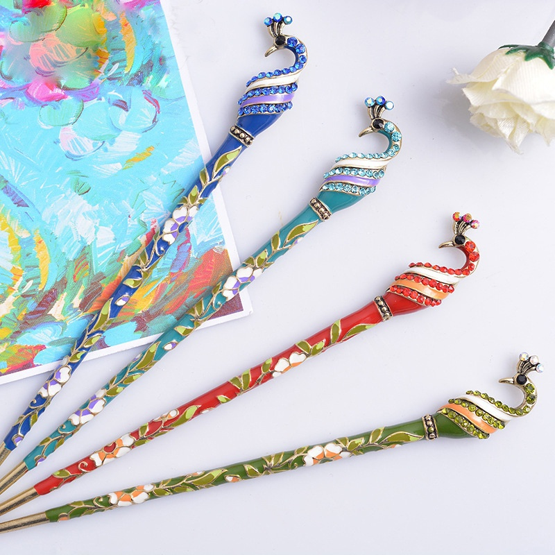 Top New Nice Ethnic Chinese Peacock Shape Hair Chopsticks Women Casual Hair Stick Ladies Hair Accessories Jewelry