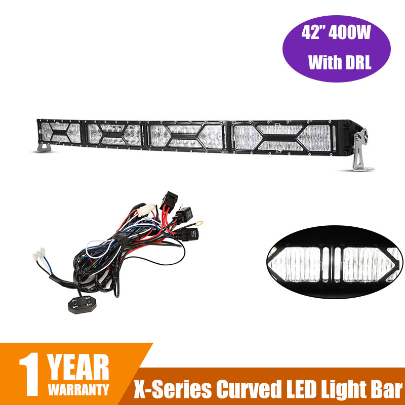 X series 400W 42 Curved LED font b Light b font Bar CREE Chips with DRL