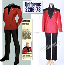 Star Trek Admiral's Cosplay Costume Commander Duty Uniform For Adults Man Suit Red Jacket+Black Pants