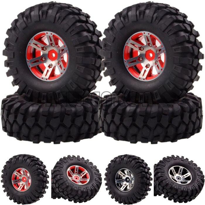 1059-7032 For RC 1/10 D90 SCX10 K949 4x .9  Metal Rock Crawler Wheel/Rim & Tyre