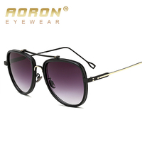2017 New Aoron Sunglasses Men Women Metal Ellipse Shades Brand Designer Sun Glasses Mirror High Quality