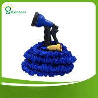 Miedź Wspólne 75 Stopy Niebieski Poszerzyć Elastyczny Wąż Ogrodowy Wody z Dyszą 7 w 1 Spary Pistolet Rozszerzenie Plastikowe Węże rury