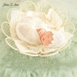 Jane Z Ann Baby fotografie stil requisiten retro weiß blumen schmiedeeisen runde net Neugeborenen fotografie requisiten foto korb