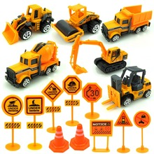 16 Pcs 1:64 Alloy Diecast Car Construction Vehicle Engineering Car Excavator Dump Roller Truck Model Toys Lot for Children Adult