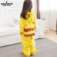 cbc7b9207 Pokemon Pikachu Onesie niños niño niña pijama Animal Cosplay traje amarillo  lindo niños Anime mono Soft Flannel traje