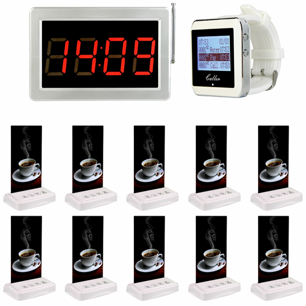 1pcs Watch Wrist +1pcs Receiver Host +5pcs Table Call Transmitter Button Pager Wireless Restaurant Coffee Shop Calling System wireless service calling system paging system for hospital welfare center 1 table button and 1 pc of wrist watch receiver