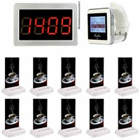 1pcs Watch Wrist +1pcs Receiver Host +5pcs Table Call Transmitter Button Pager Wireless Restaurant Coffee Shop Calling System Pagers Cellphones & Telecommunications -