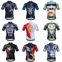 Men Mountain Bike Jersey Summer Short Sleeve Cycling Jersey 3D Lion Skull Breathable Sportswear MTB Bike Clothes Ropa Ciclismo