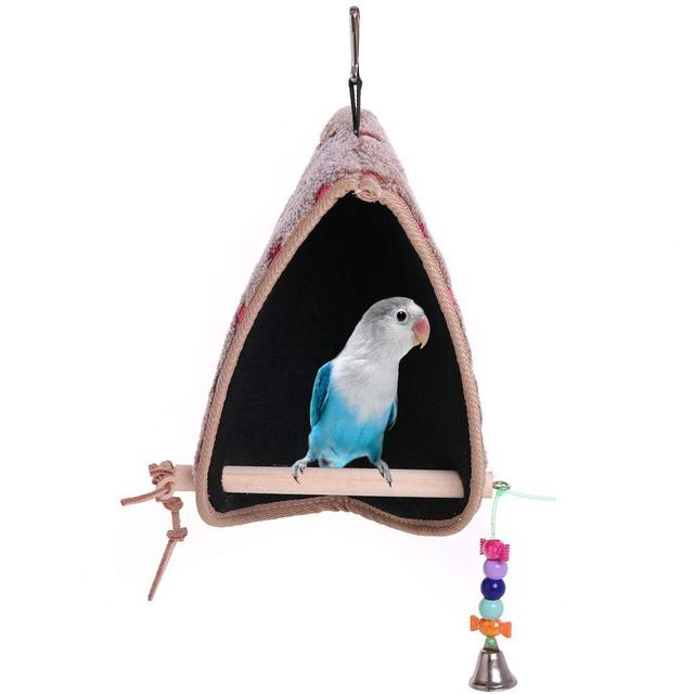 parrot Winter Plush Hut Tent Nest Stand Parrot Bed Sleep Parakeet Cage Cave Hanging Decor  Birdhouse for Small  Cockatoo Finch