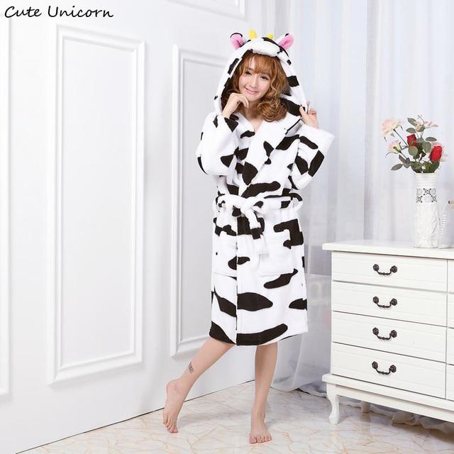 Cute Unicorn Unisex Cow Nightgown Cartoon Robes Women Gown Long ...
