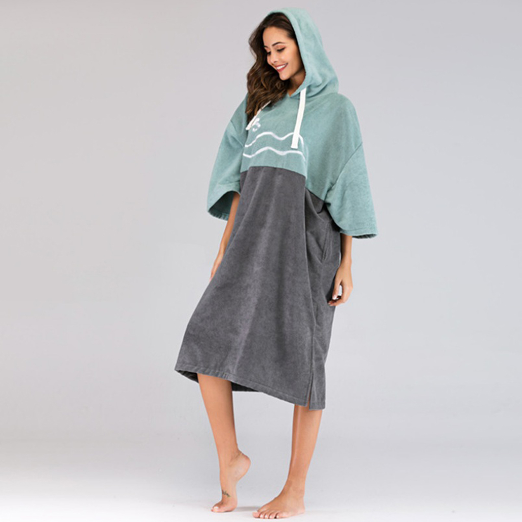 Microfiber Unisex Robe Beach Thick Surf Poncho With Hood Swimming Bath Suit For Kayaking Bathing Vacation-Sun Wind Protection
