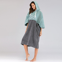 Microfiber Unisex Robe Beach Thick Surf Poncho with Hood Swimming Bath Suit for Kayaking Bathing Vacation Sun Wind Protection